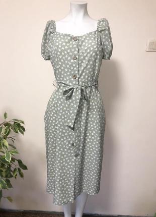 Платье халат,платье в цветочек,платье с рукавами фонариком,платье на пуговицах,платье с декольте