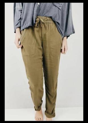 Стильные льняные брюки штаны бананы джоггеры высокая талия,с поясом,хаки бохо