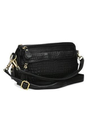 Женская черная сумка из кожи