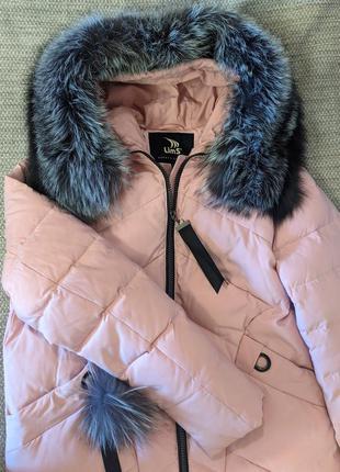 Женский зимний пуховик с натуральным мехом пальто жіноча зимова куртка