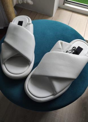 Сандали шлёпанцы кожаные белые зара размер 36