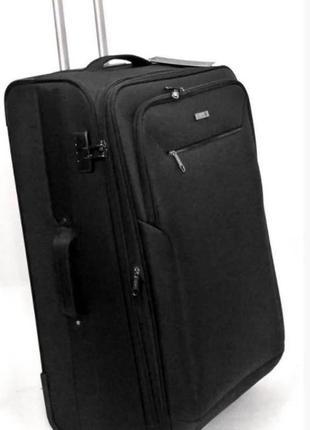 Чемодан тканевыйдвухколесный, большого размера легкий, черного цвета германский бренд d&n