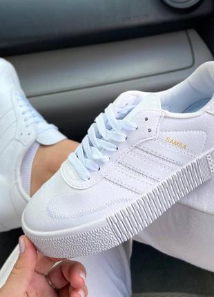 Женские кожаные кроссовки адидас,adidas samba white