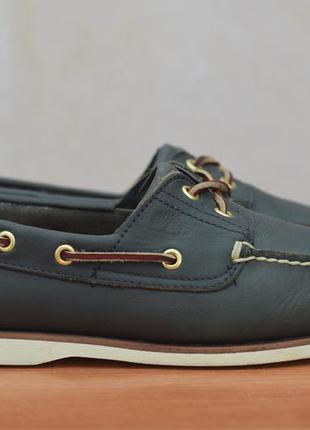 Синие кожаные мужские мокасины, топсайдеры, туфли timberland, 43.5 размер. оригинал