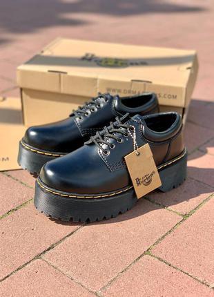 Ботинки осенние dr. martens 8053 platform black polished smooth чёрные