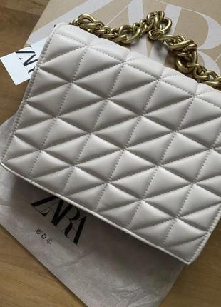 Новая сумка с цепью, zara клатч, zara сумка, сумка с цепью, белая сумка