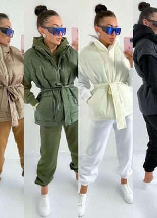 Костюм тройка теплый на флисе, худи с капюшоном, штаны с высокой посадкой, oversize жилетка с поясом