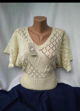Ажурная женская футболка с рукавом летучая мышь полувер