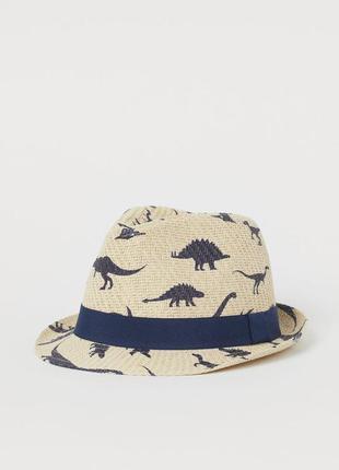 Соломенная шляпа в принт динозавров от h&m