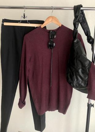 Тонкий тёплый свитер с шерстью
