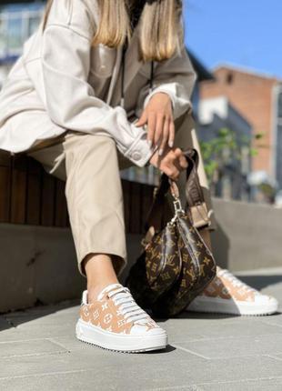 Женские кроссовки в стиле luis vuitton 💥 коричневые-белые наложенный платёж весна лето осень