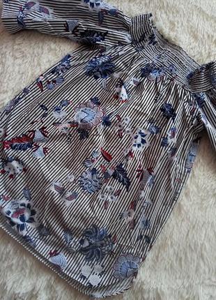 Классная блузкав полоску и цветной принт 😻💣