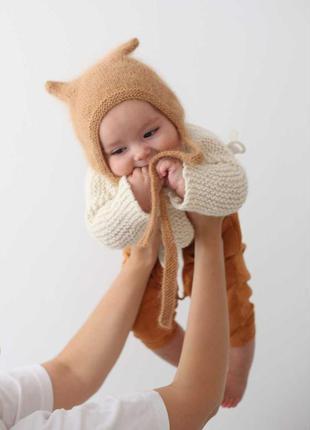 Шапочка на деток, детская шапка, шапка с ушками