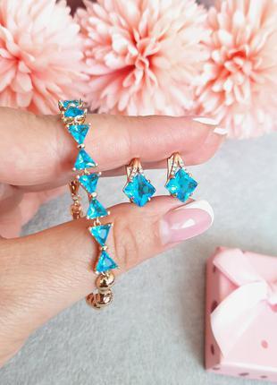 Комплект с голубым фианитам медицинское золото xuping