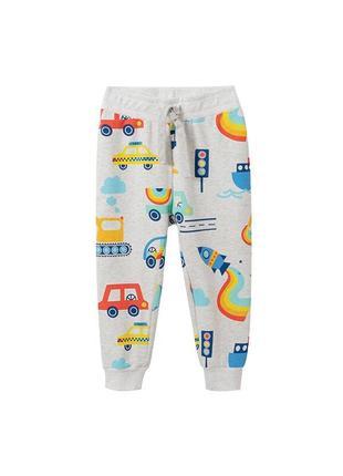 Штани для хлопчика з малюнком транспорт сірі тraffic