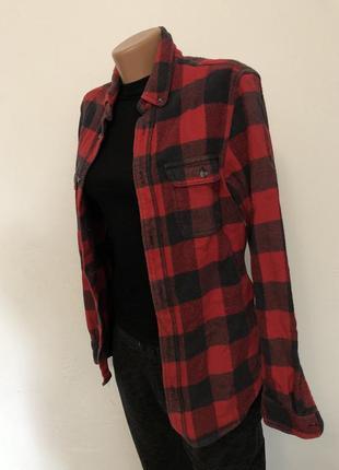 Клетчатая байховая рубашка unisex чёрно- красная topman