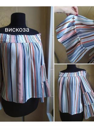 Блуза primark из вискозы с открытыми плечами и широкими рукавами