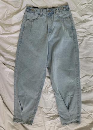 Штани широкі, трендові світлі джинси, голубые джинсы, новые светлые женские джинсы.