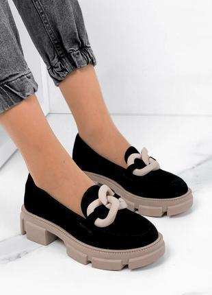 🖤 замшевые женские туфли с цепью чёрные с бежевым