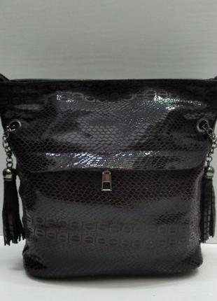 Женская комбинированная сумка кросс-боди( коричневая) 21-09-014