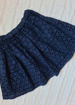 Синяя ажурная юбка