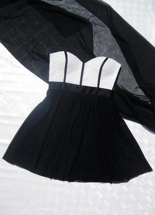 Комби чёрно белое платье бюстье с юбкой из фатина elise ryan