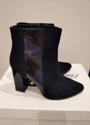 Ботильоны ботинки замшевые натуральная замша темно-синие на каблуке остроносые с острым носком