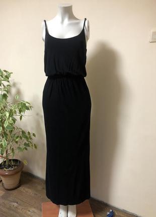 Платье в пол,чёрное длинное платье,платье на бретельках
