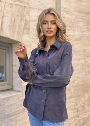 Вельветовая рубашка в стиле зара 42-44 46-48 беж серый пудра