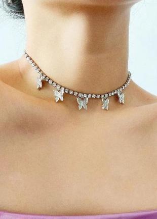 Чокер колье ожерелье подвеска цепочка бабочки