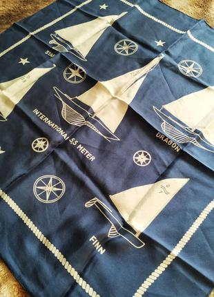 Kreier шелковый стильный платок в морском стиле винтаж.  швейцария