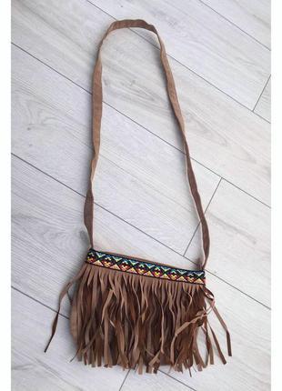 Сумка кантрі country, сумка бежева, коричнева, сумка через плечо.
