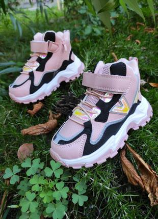 Спортивные ботиночки для девочки розовые кроссовки на флисе