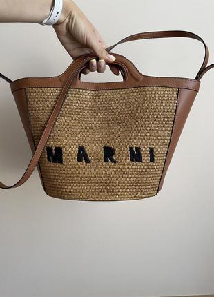 Сумка соломенная пляжная плетеная шоппер кожаная marni