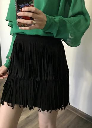 Мини юбка с бахромой
