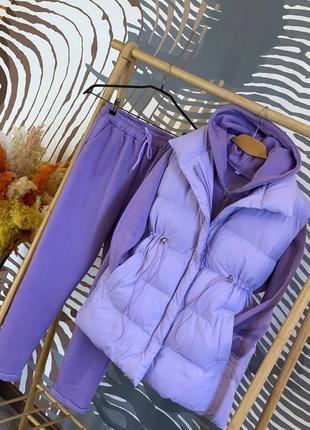 Стильный и модный спортивный костюм тройка кофта штаны и жилетка