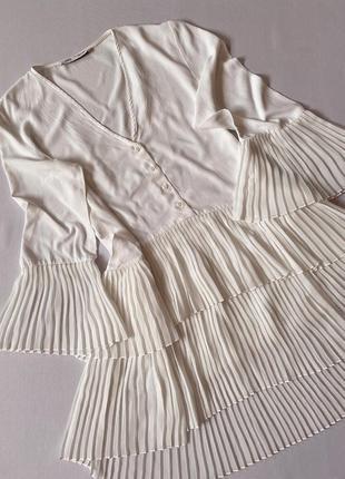 Белое платье с рюшами/воланами зара/zara