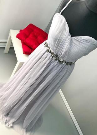 Роскошное фатиновое платье с поясом из ожерелья little misstress