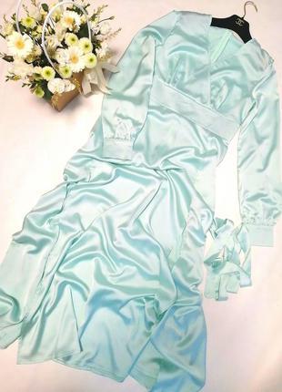 Довге вечірнє атласне плаття мятного кольору