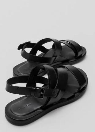 Massimo dutti чёрные кожаные босоножки