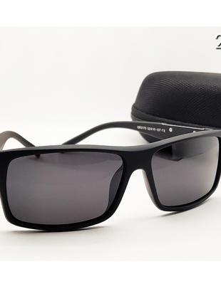 Мужские очки с футляром линза поляризацийна в матовой черной оправе