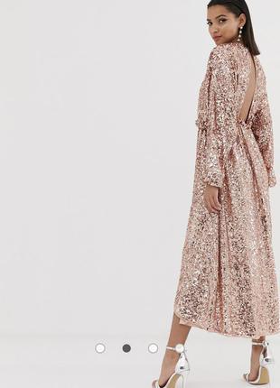 Платье миди с открытой спиной и пайетками asos edition