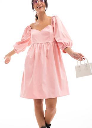 Розовое платье , платье беби долл , платье с пышными рукавами