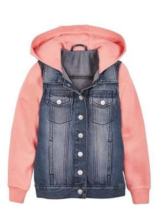 Джинсовая куртка бомбер с капюшоном, рукава на флисе pepperts германия р. 158 евро