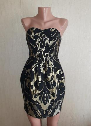 Шикарное нарядное вечернее платье с открытыми плечами вырез сердечко h&m