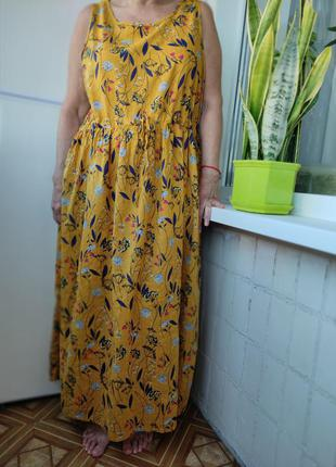 Платье сарафан, хлопок, батал, большой размер