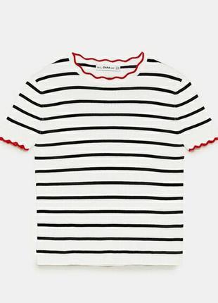 Вязаная футболка топ в полоску рубчик ажурная окантовка
