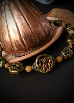 Керамические зеленые бохо бусы из керамики ручной работы