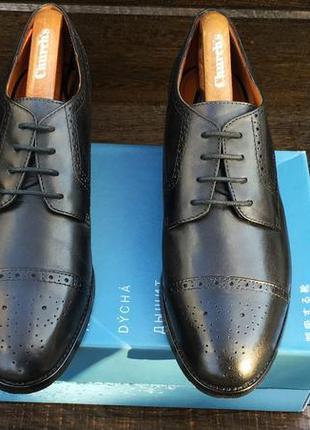 Брендовые стильные черные мужские туфли броги geox кожа