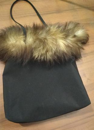 Нейлоновая сумка с натуральным мехом